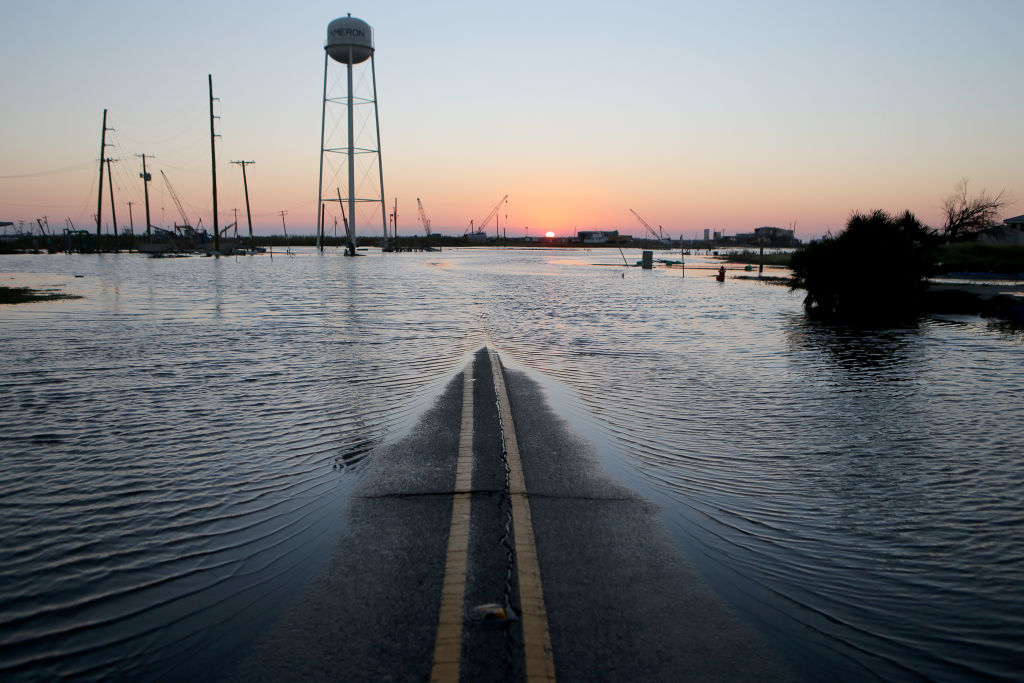 A flooded street in southern Louisiana.